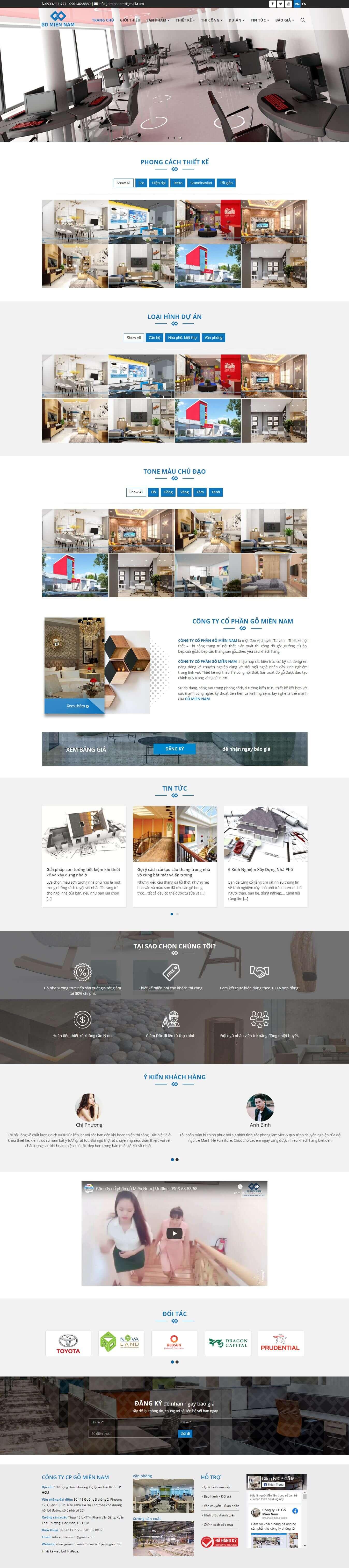 Thiết kế Mẫu website về thiết bị nội thất 01