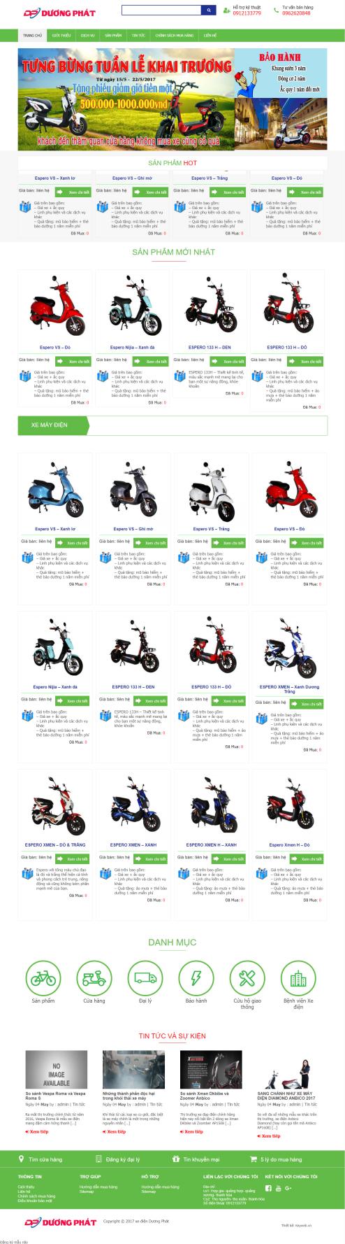 Mẫu website xe đạp, xe máy điện 01