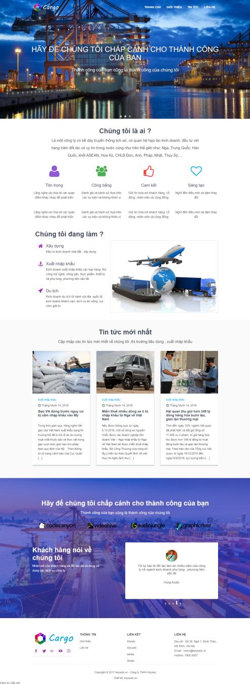 Thiết kế Mẫu Website Công Ty Vận Tải VT17