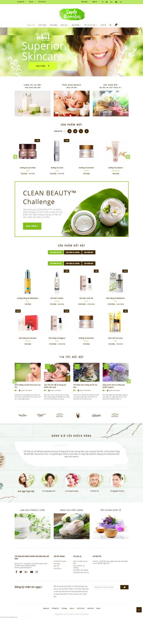 Thiết kế Mẫu website mỹ phẩm MP23