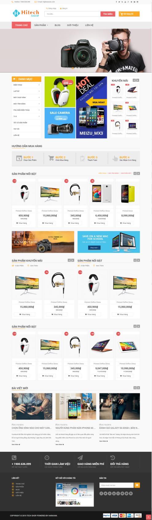 Thiết kế Mẫu website siêu thị điện tử 02