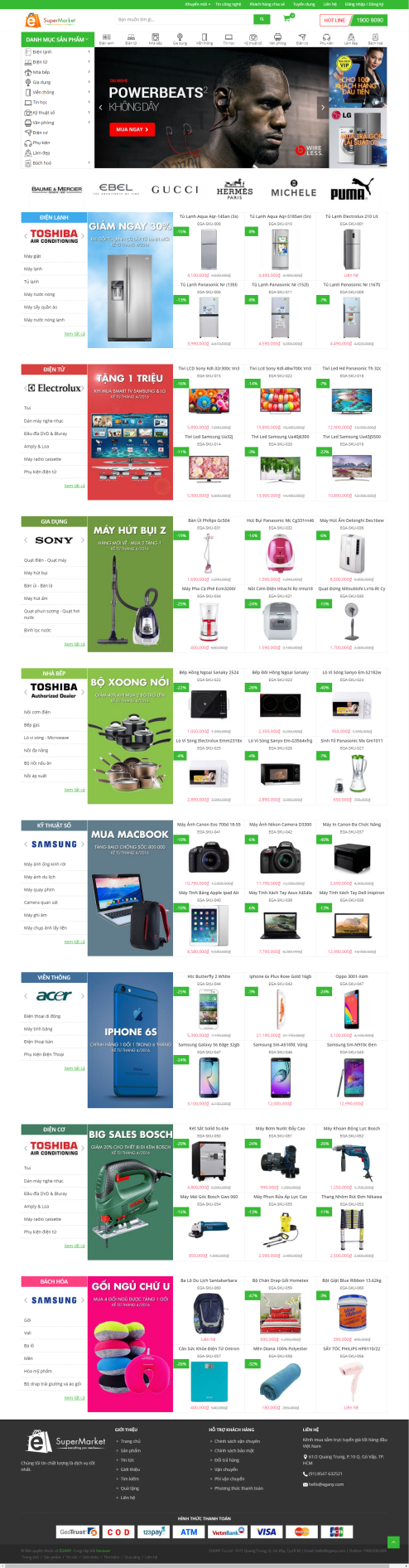 Thiết kế Mẫu website siêu thị điện tử 03