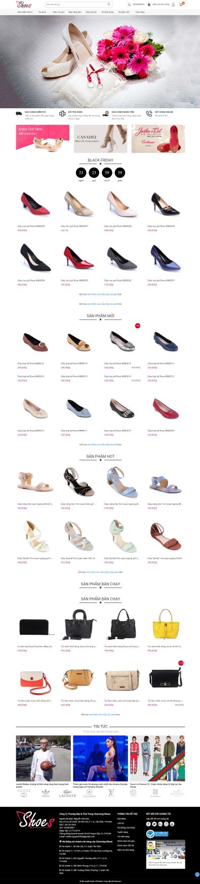 Thiết kế Mẫu website thời trang giày 04