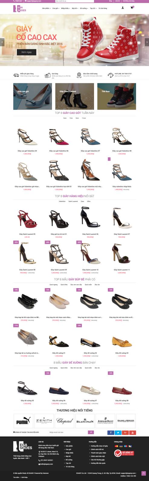 Thiết kế Mẫu website thời trang giày 05