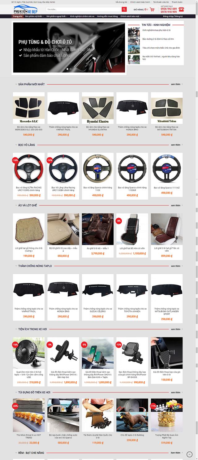 Website phụ tùng ô tô xe máy PT01
