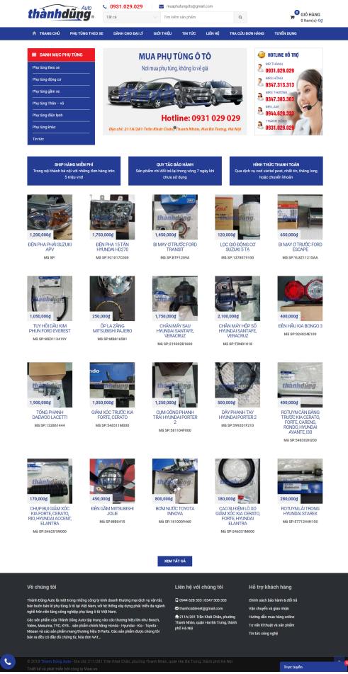 Website phụ tùng ô tô xe máy PT03