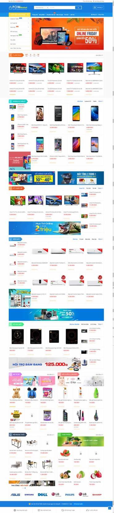 Thiết kế Mẫu website siêu thị điện máy DM12