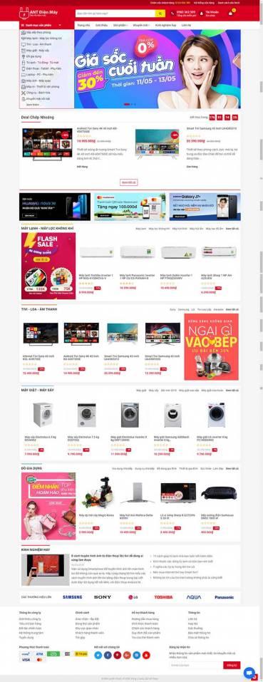 Thiết kế Mẫu website siêu thị điện máy DM14