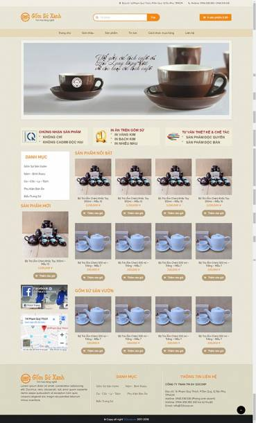 Thiết kế Mẫu website về gốm 02