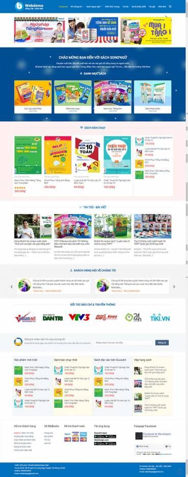 Thiết kế Mẫu website về sách 01